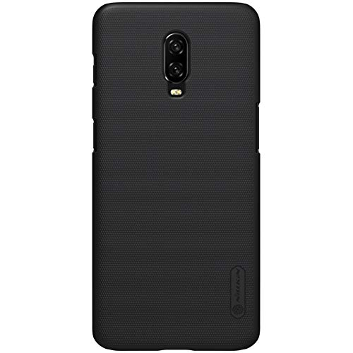 Nillkin OnePlus 6T Hülle, Frosted Shield Serie [mit Telefon Ständer] Ultra Slim PC Material Schutzhülle Stoßfest Handyhülle Rückseite Hard Case Back Cover für OnePlus 6T (Schwarz)