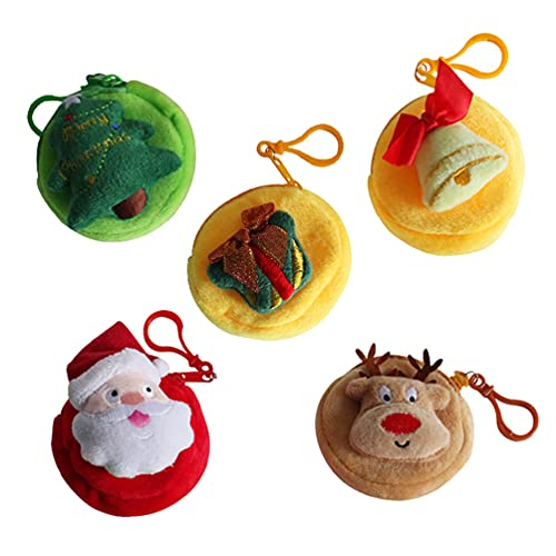 WINOMO 5Pcs Christmas Decorative Candy Bags Mini Wallet Bag for Kids, Christmas Tree Hanging (Mixed Color)