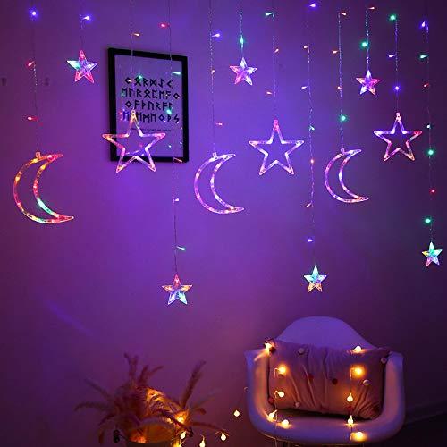 Lámpara Estrella de la Luna Lámpara LED Cortina de la lámpara de Vacaciones lámpara Decorativa lámpara de Navidad Cadena de Estrellas Color