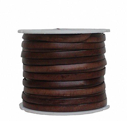 Ensuite Ziegenleder Lederriemen, Lederband flach Dunkelbraun, Kanten schwarz gefärbt, Länge 25 m, Breite ca. 5 mm, Stärke ca. 1,0 mm
