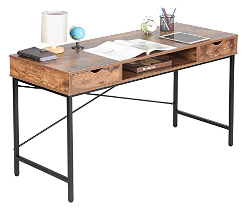 JJS 48' Writing Desk with Drawers, Contemporary Home Office Large Computer Laptop Workstation with Storage, Rustic Brown