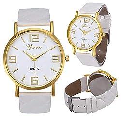 SheShiLs Women's Watches Geneva Faux Leather Analog Quartz Dress Wrist Watch Ladies Bracelets Clock White