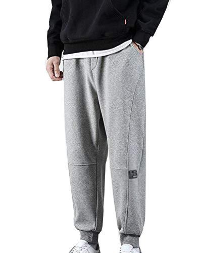 GuoCu Hombres Stitching Pantalones Deportivos con Cordón Entrenamiento Joggers Casual Pantalones de Running de Gimnasio de Entrenamiento con Bolsillos Dobles Gris XXXL