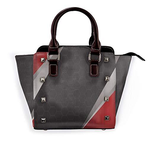 BROWCIN Sportthema Dunkler Fußball Geometrisches Sechseck, bedeckt von symmetrischen roten silbernen Dreiecken Abnehmbare mode trend damen handtasche umhängetasche umhängetasche