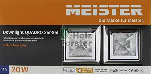 MEISTER Downlight Quadro 12Volt 20Watt 3er Set, Chrom