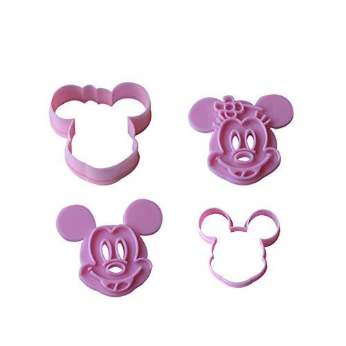 2pcs únicas Mickey Minny ratón torta de la pasta de la galleta cortador de la galleta herramientas de moldeo juego de moldes