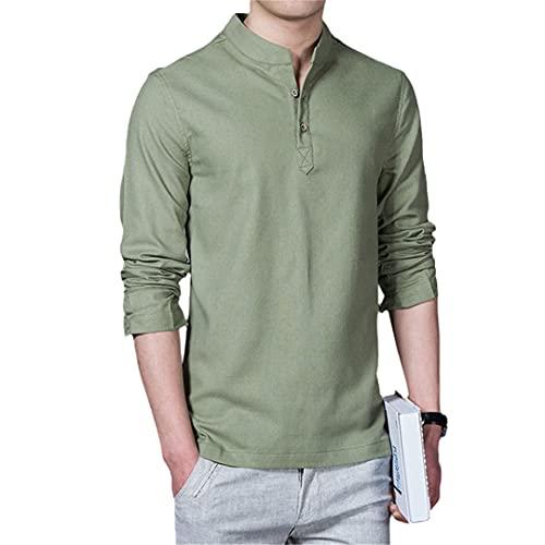 Hombres Primavera Algodón Lino Kimono Camisa Manga Larga Ocio Chino Casual Stand Collar Camisas, verde, 4XL