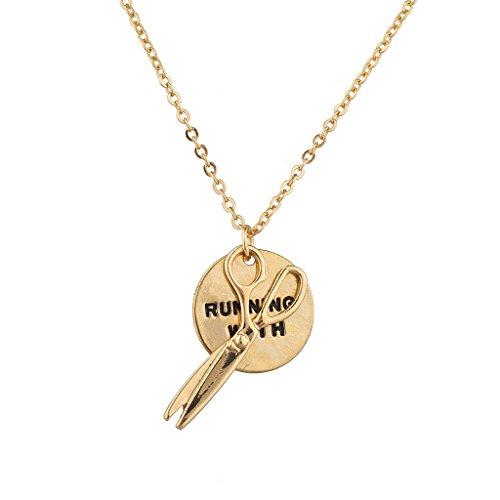 LUX accesorios dorado Running con tijeras encanto collar