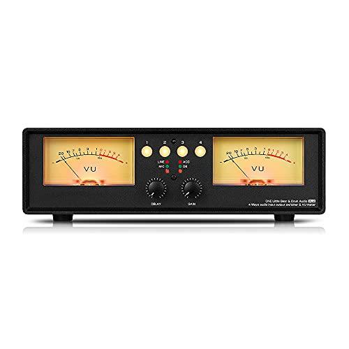 Milkvetch MIC + LINE Dual VU Meter Audio Splitter Box Interruttore un 4 Vie Indicatore del Livello Sonoro, A