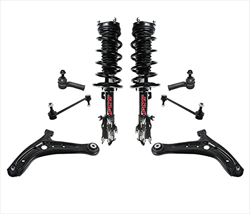 Control Arms Tie Rods Complete Coil Spring Struts For 2011-2015 Ford Fiesta 8pc
