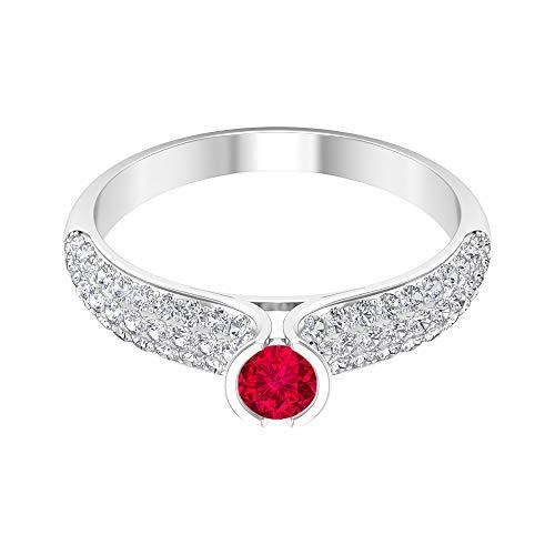 Anillo solitario de rubí de 0,34 quilates, anillo de diamantes HI-SI, 0,65 quilates, anillo de compromiso de oro (rubí redondo de 4 mm), 14K Oro blanco, Size:EU 70