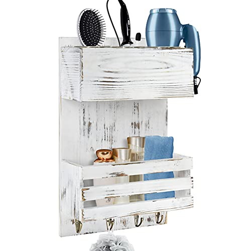 Y&ME YM Wood Hair Dryer Holder Wall Mount, Bathroom Hair Care and Styling Tool Organizer, Farmhouse Wood Beauty Hair Appliance Holder with Shelf for Bathroom Accessories, Makeup, Toiletries White