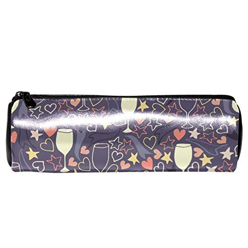 red Wine Glass PU Leather Stationery Stylish Simple Pencil Bag and Durable Compact Zipper Pencil Case Pouch for Girls and Boys
