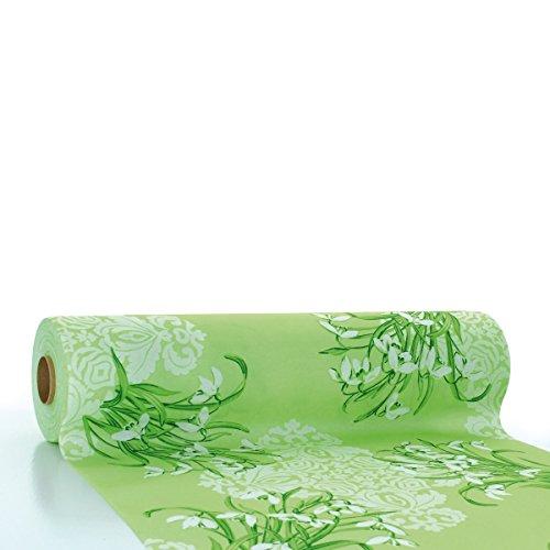 Sovie HORECA Linclass® Airlaid Tischläufer Melanie 40 cm x 24 m   Tischdecken-Rolle stoffähnlich   praktische Einmal-Tischdecke für Hochzeit oder Partys   Grün