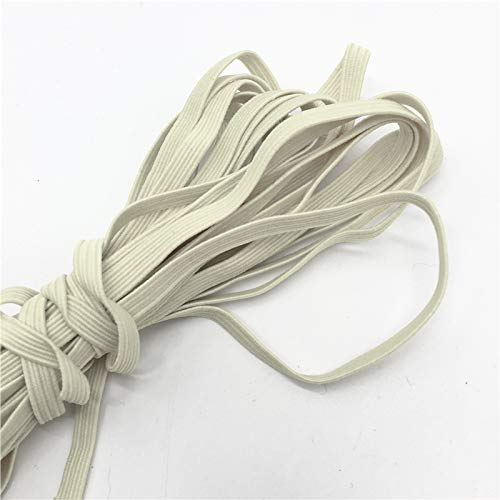 10 Yards Braided Flat Elastic Stretch Band for Sewing, Crafts, DIY Mask - 1/4' (6mm): US Stock Ready to Ship from Chicago Priority Shipping Upgrade Available (Beige (1))