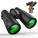 12x42 Binoculars for Adults, Binoculars with Weak Light Vision, Smartphone Photograph Adapter - 18mm Large View Eyepiece,16.5mm Super Bright BAK4 Prism FMC Lens for Birds Watching Hunting Sports