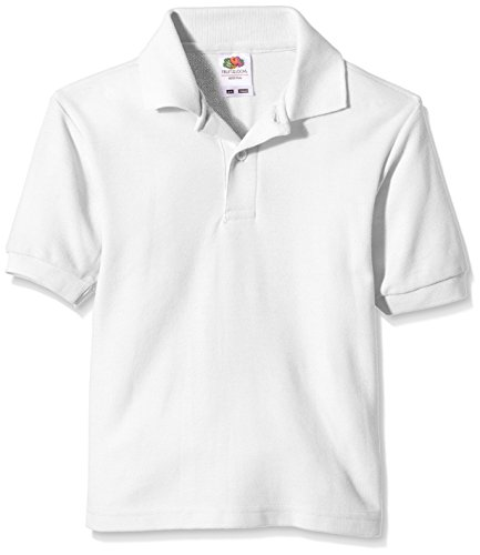 Fruit of the Loom - Pique Polo, T-Shirt Bambino, Bianco, 3 anni