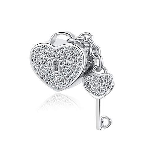 SBI Jewelry Love Hearts Charm for Bracelets Key Dangle Heart Safety Chain Charm Gift for Women Girls Birthday