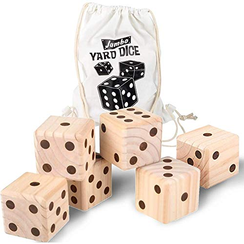 ArtCreativity Jumbo Wooden Yard Dice, Set of 6 Dice with Carry Bag, Fun Lawn and Backyard Games for Kids and Adults, Game Instructions Included, Outdoor Games for Picnic, Parties, Summer Fun