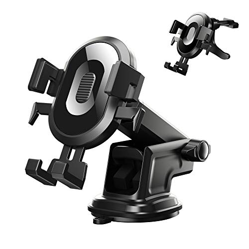 """helloleiboo Car Phone Mount Phone Holder for Car Dashboard Air Vent Windshield Super Suction Universal Car Phone Holder Compatible Most Phones in 4"""" to 7"""""""