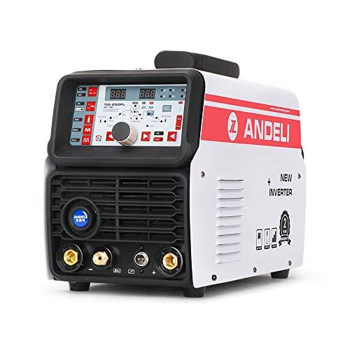 Andeli TIG Welder Smart AC DC Pulso frío máquina de soldadura TIG de aluminio con aleación de aluminio TIG TIG-250PL AC DC (paquete de 2)