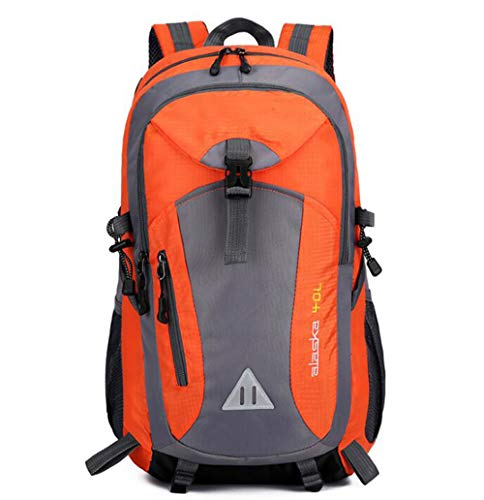 DKZ 40L Travel Backpack, Water Resistant Fabric Hiking Rucksack,Foldable Lightweight Multi-functional Casual Camping Trekking Rucksack,for Outdoor Camping Trekking Tourist,Orange