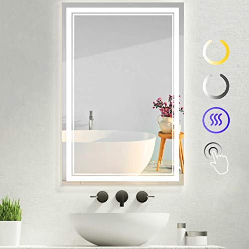 Soldow 32x24 Inch LED Bathroom Vanity Mirror Anti-Fog & Waterproof, Wall Mounted Makeup Mirror with Lights Dimmable High Lumen 3-Color Touch Button Memory Function (Vertical/Horizontal Installation)