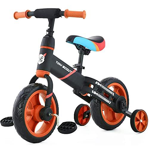 DREAMyun 4 in 1 Kinder Laufrad Dreirad Fahrrad mit Abnehmbares Pedal, Sitz Höhenverstellbar, Lauffahrrad...