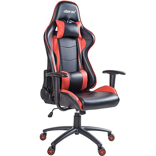 Merax Ergonomic Gaming Chair High Back Computer Desk Chair Adjustable Recliner Swivel Chair E-Sports Chair with Lumbar Support and Headrest (Red)