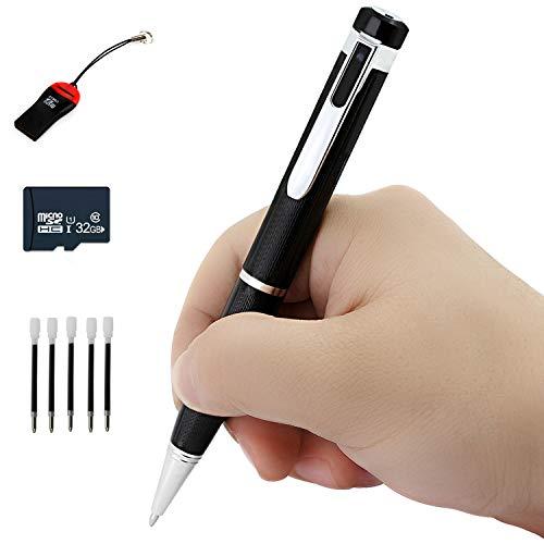1080P Stift Mini-Kameras ,Bewegungserkennung kostenlose 32 GB Micro SD eingebaute und 5 Tinten, Stimme und Bild Executive Multifunktions-Überwachungskameras
