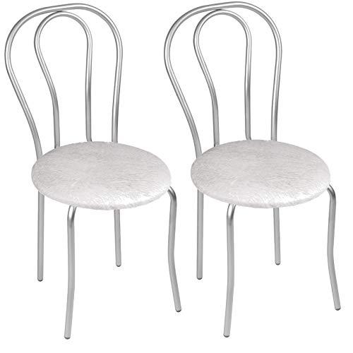 Sedia da Pranzo Moderna in Ecopelle, Sedia da Sala da Pranzo, Set di 2 Sedie da Pranzo con Gambe in Metallo - Tulipan Satin - Colore: Bianco Grigio - Set di 2