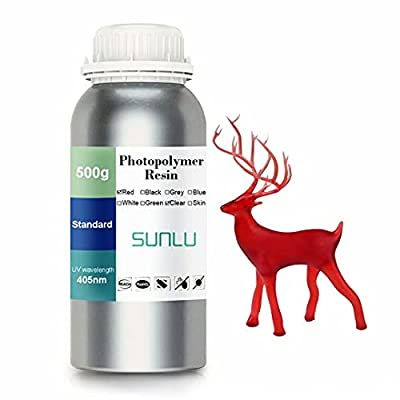 SUNLU 3D printer LCD UV Resin 405nm Rapid Resin fast-curing photopolymer for the Photon/S liquid 3D resin high-precision for LCD/DLP/SLA 3D printer, 500ml Transparent Red