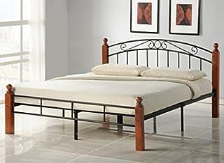 PEGANE Lit Design en Metal, Pieds de lit en Bois malaisiens Marron, Dim: 160 x 200 cm
