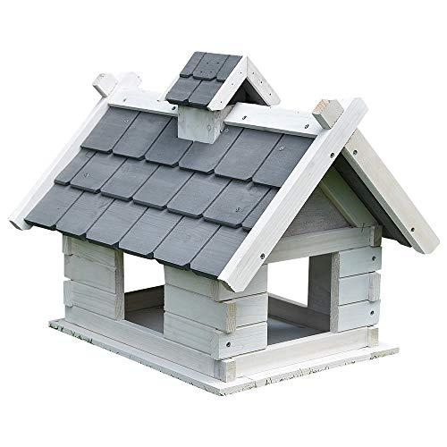 Melko Vogelhaus Weiß/Grau mit Dachschindeln 44 x 34 x 37 cm, vorbehandelt