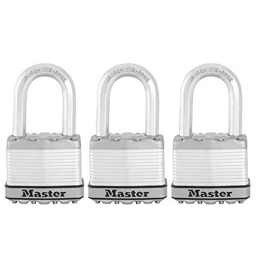 MASTER LOCK Hochleistungsvorhängeschloss [Schloss mit Schlüssel] [Laminierter Stahl] [Wetterfest] M5EURTRILF - Ideal für Lagerräume, Garagen etc.