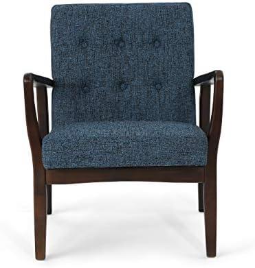 Best Christopher Knight Home Conrad Fabric Mid-Century Birch Club Chair, Indigo Weave and Dark Espresso