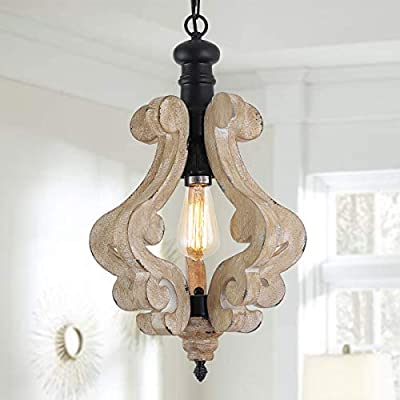Farmhouse Wood Pendant Lighting, Industrial Wooden Chandelier 1 Light Retro Vintage Rustic Hanging Light Fixtures Ceiling for Dining Rooms Living Room Wood Foyer Celling Lighting Kitchen Hallway
