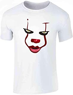 Clown Face Horror Scary Movie Halloween Costume Graphic Tee T-Shirt for Men