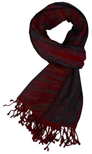 Lorenzo Cana Luxus Damenschal Schaltuch 50 cm x 180 cm Wollschal jacquardgewebter Schal 100% Wolle vom Merino Lamm Mehrfarbig Rot Blau Gruen Naturfaser 78585