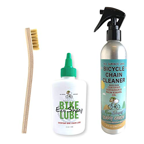 Eco Sheep Sustainable All Natural Bike Maintenance Bundle Pack with Non-Toxic Bike Chain Oil, Organic Chain Cleaner, and Hog Hair Brush - Perfect for Maximum Performance and Low Environmental Impact.