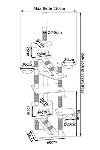 Katzenkratzbaum, Kratzbaum für Katzen, deckenhoch (höhenverstellbar mit Deckenspanner) 240-260 cm (grau / weiß) - 7