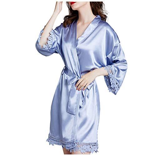 SHUANGA 2020 Damen Neue Nachthemd Frauen Pyjamas Bademäntel Simulation Seidenpyjamas...