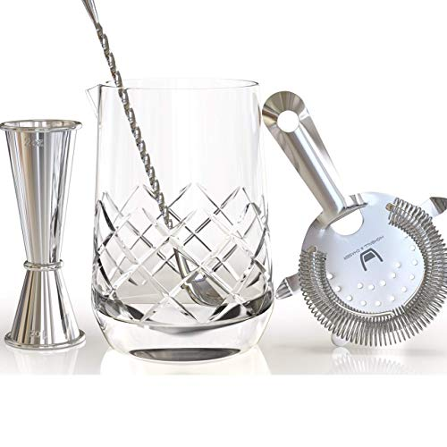 Highball & Chaser Lead Free Crystal Cocktail Mixing Glass and 3 piece Bar Tool Set. 2oz/1oz Jigger with measurements, High Density Strainer and Shiny Twisted Mixing Spoon. Online Recipe E-Book