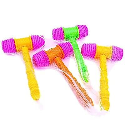 Hammer Squeaky Toy, 4 PCS Plastic Gavel Squeaky Toy Hammer Clown Hammer with Whistle Assorted Color