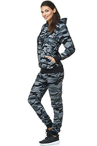 Violento Damen Jogging-Anzug | 100% Baumwolle | Trainings-Jacke mit Reißverschluss |Hose mit Tunnelzug und Zugband | Uni 586 | S-3XL (XL, Camouflage)