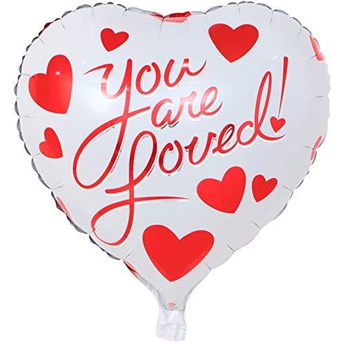DIWULI, Heart Balloon You Are Loved! Edele ballon in hartvorm, hartballon, hartfolieballon, folieballon, folieballon verjaardag, bruiloft, decoratie, liefde, liefde, harten