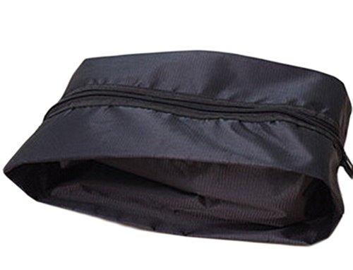 Drawihi Sac à chaussures en nylon étanche pour le voyage et le voyage - Peut être plié - Noir