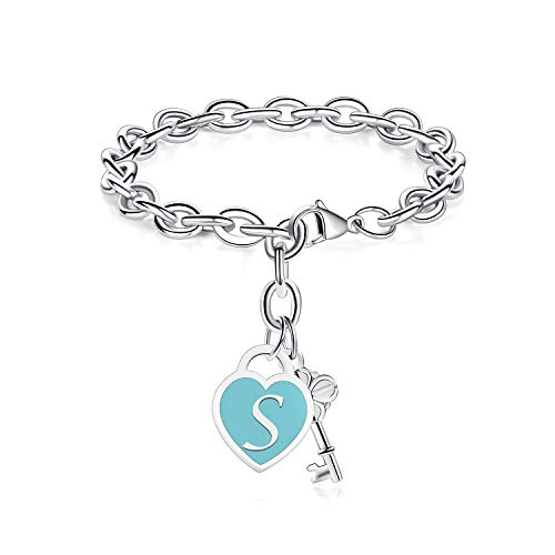 TONY & SANDYInitial Bracelets Heart Engraved 26 Letters Charms Bracelet Stainless Steel Silver Alphabet Bracelet with Cute Key Birthday Christmas Jewelry Gift for Women Teen Girls (S)