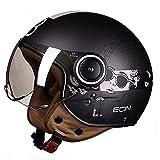 Medio casco de motocicleta Cool Girl Retro para hombres y mujeres Protector solar ligero Modelado Casco de cara abierta 3/4 Casco de scooter certificado por DOT/ECE, M-XL (54-60cm),G,XL