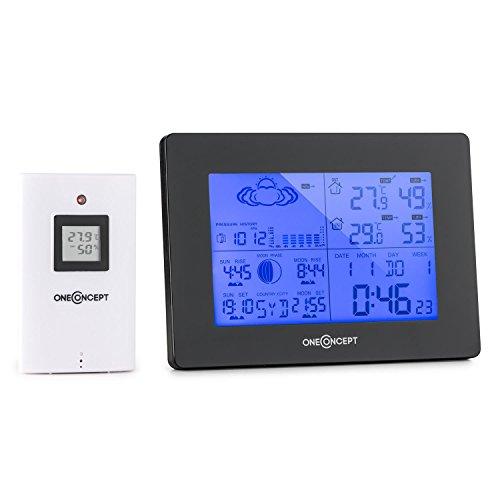 OneConcept Bergen - Funk Wetterstation, Außensensor, Batteriebetrieb, Temperaturmessung, Luftfeuchtigkeits- und Luftdruckanzeige, Mondphasen-Anzeige, schwarz